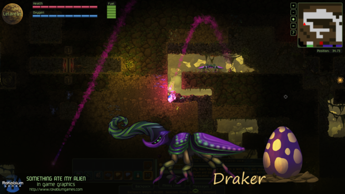 Draker enemy laying eggs that shoots dangerous projectiles towards the player.